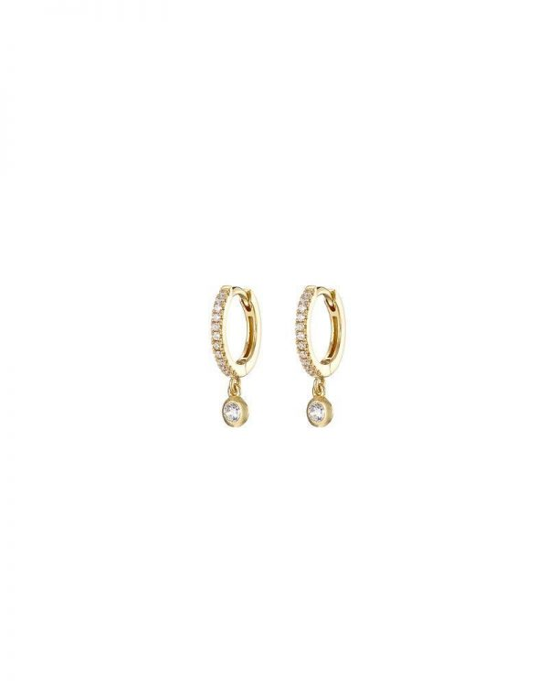 Chapter One Gold Pave Huggie Earring With Crystal Drop