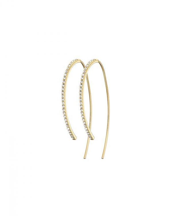 Chapter One Gold Curve Pave Earrings