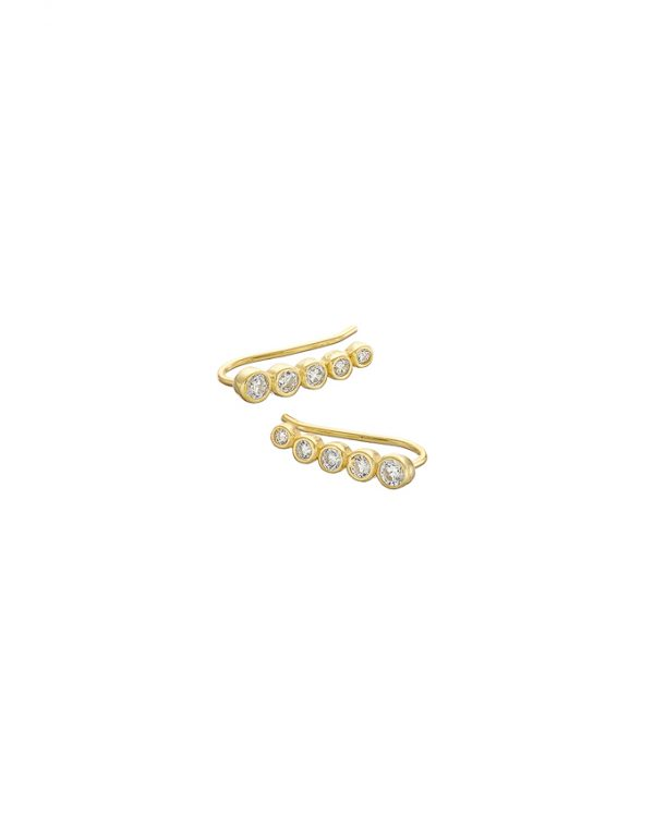Chapter One Gold Five Stone Climber Earrings