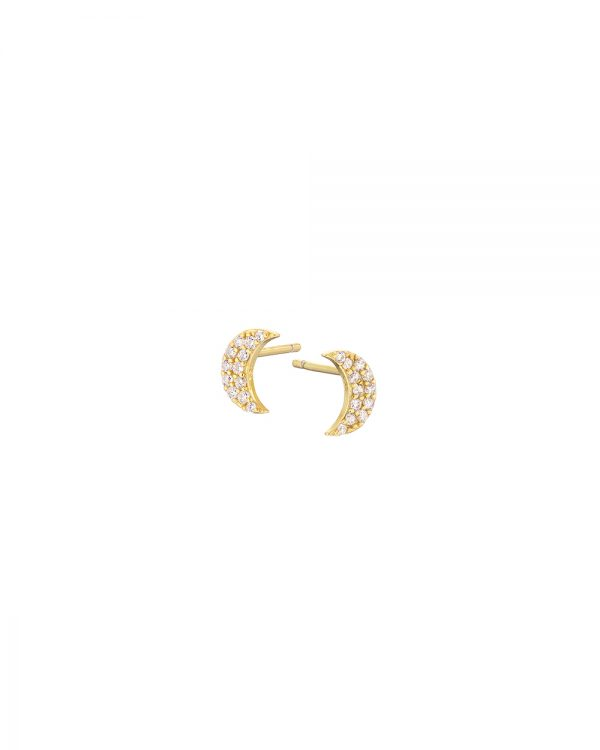 Chapter One Gold Pave Crescent Moon Earrings
