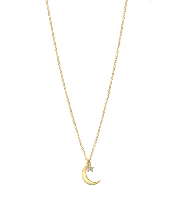 Chapter One Gold Crescent Moon And Pave Star Necklace