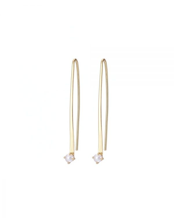 Chapter One Cavan Mary K Gold Curved Earrings With Seed Pearl