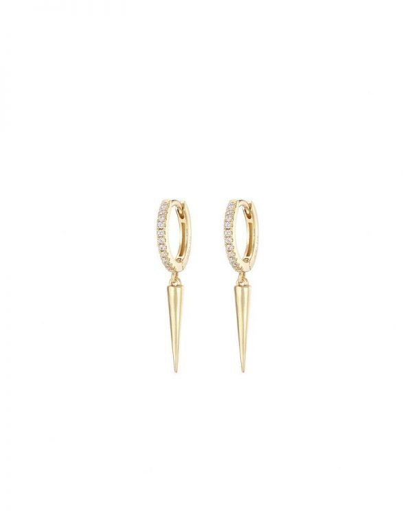 Chapter One Cavan Mary K Gold Pave Huggie Earrings With Slim Spike