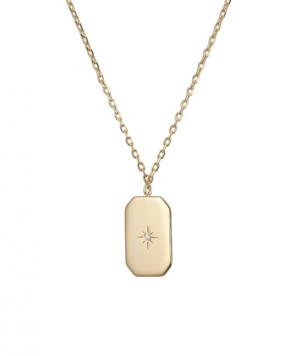 Chapter One Cavan Mary K Gold Tag Necklace + Zircon