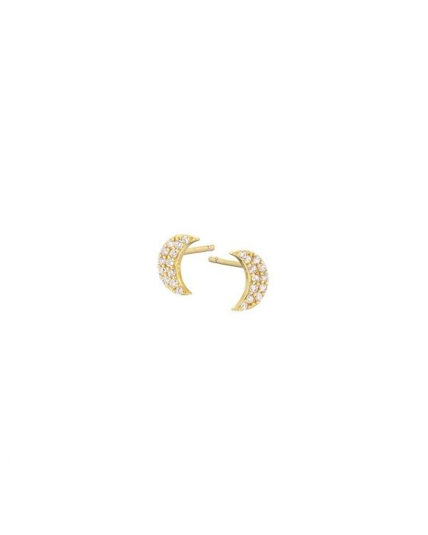 Chapter One Cavan Mary K Gold Vermeil Pave Crescent Moon Studs