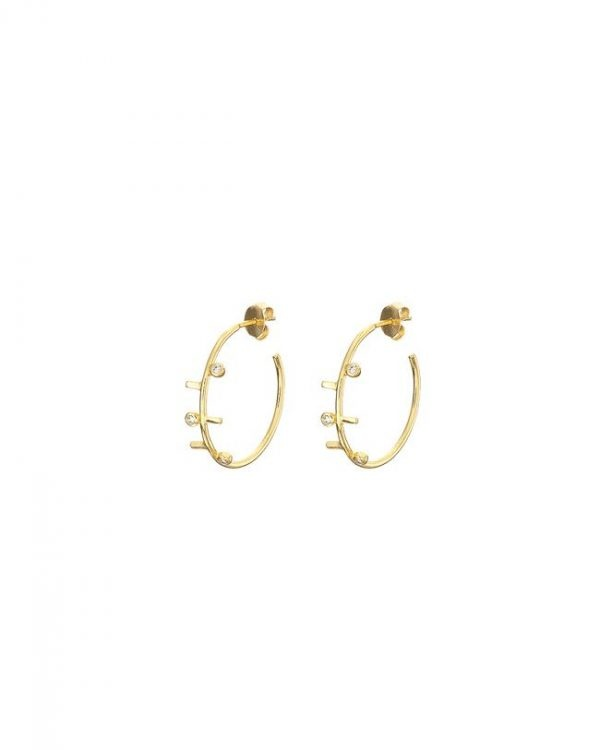 Chapter One Cavan Mary K Gold Plated Geometric Hoops with Cubic Zirconia